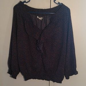 Navy Blue Polka-dot Blouse